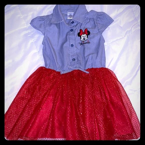49463191e Disney Dresses   Nwot 4t Girls Minnie Dress Red Sparkle Tutu 4 ...